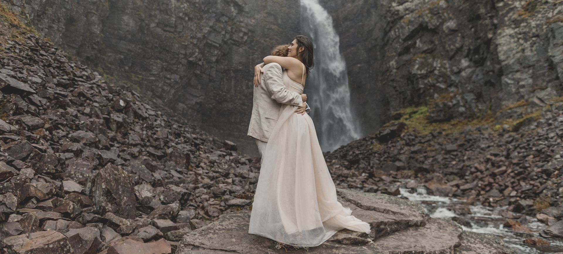 waterfall adventure elopement in sweden