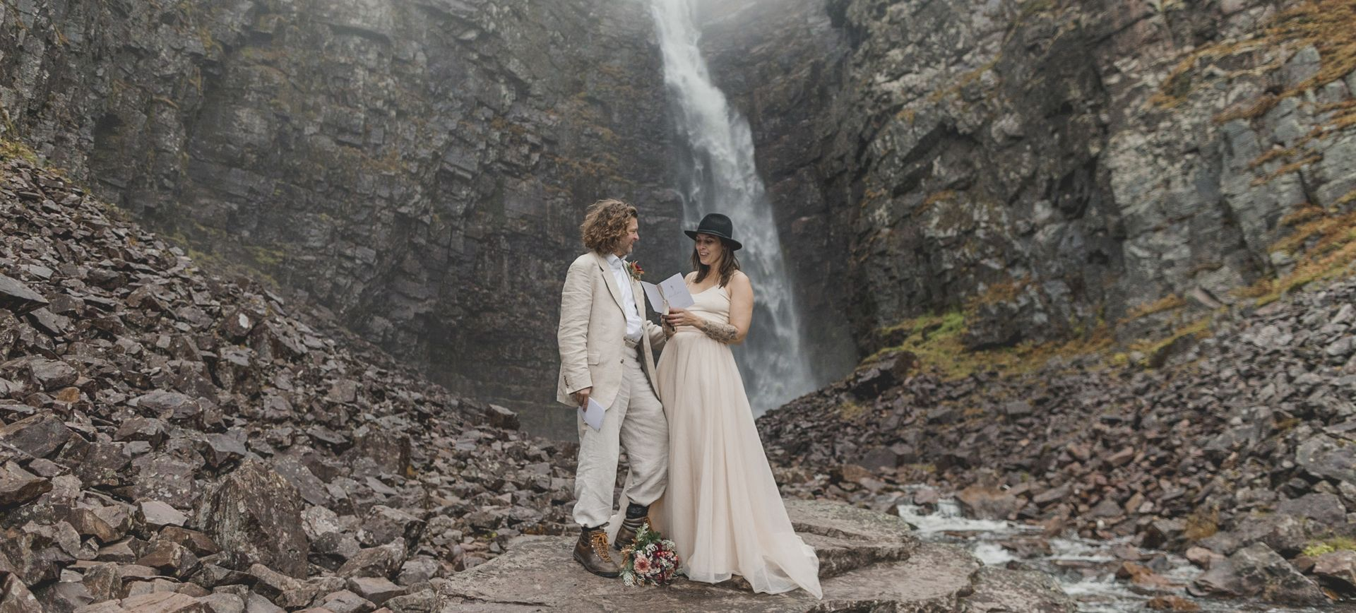 glamping wedding in sweden - waterfall adventure wedding