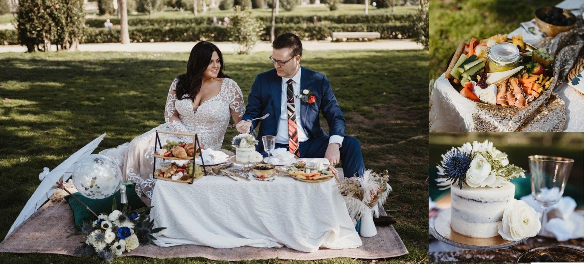 elopement barcelona -wedding picnic in parc de la ciutadella
