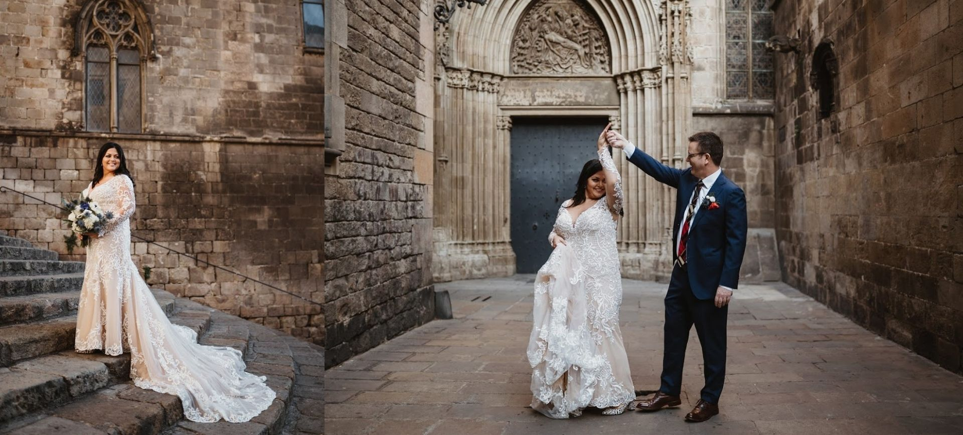 elopement wedding in barcelona - gothic quarter wedding portraits