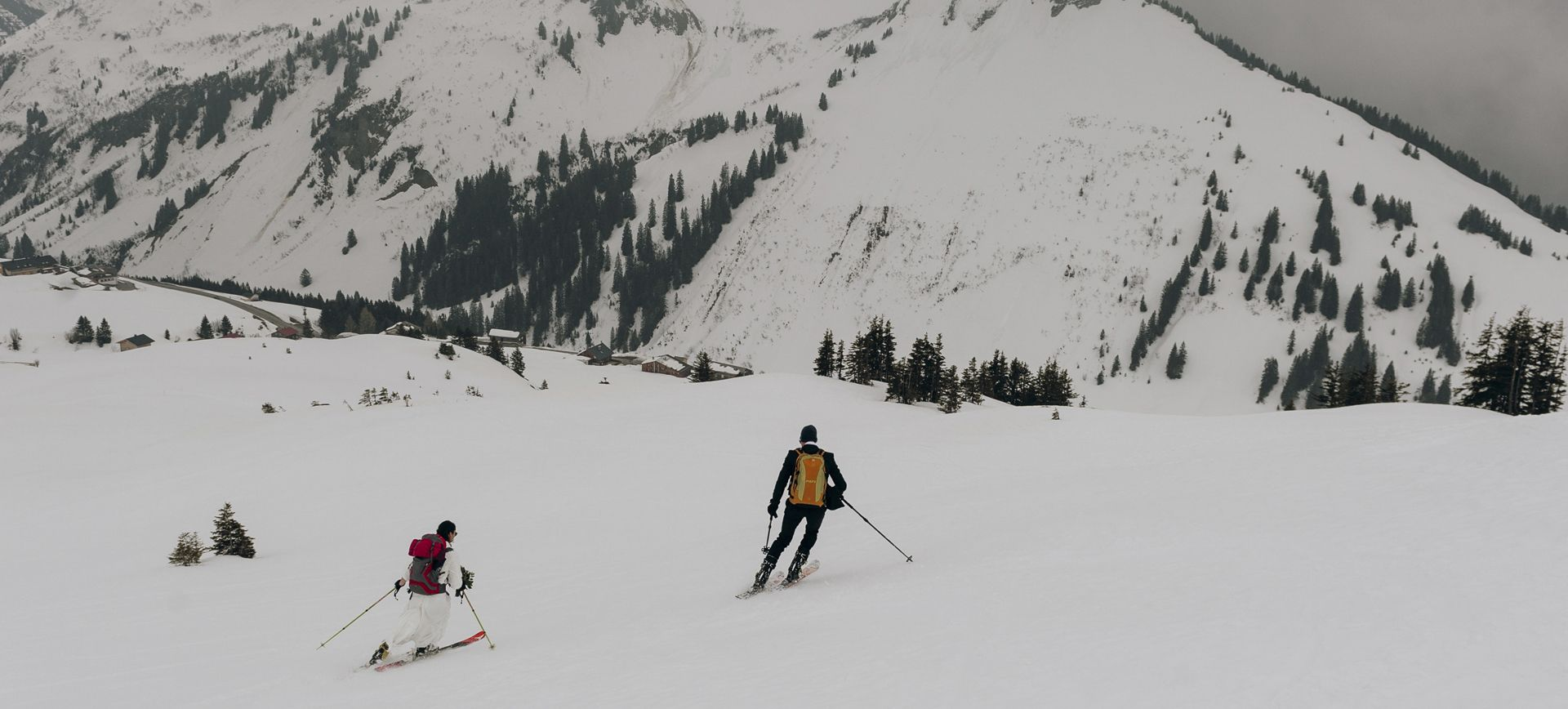 winter mountain elopement package with skiing in the alps