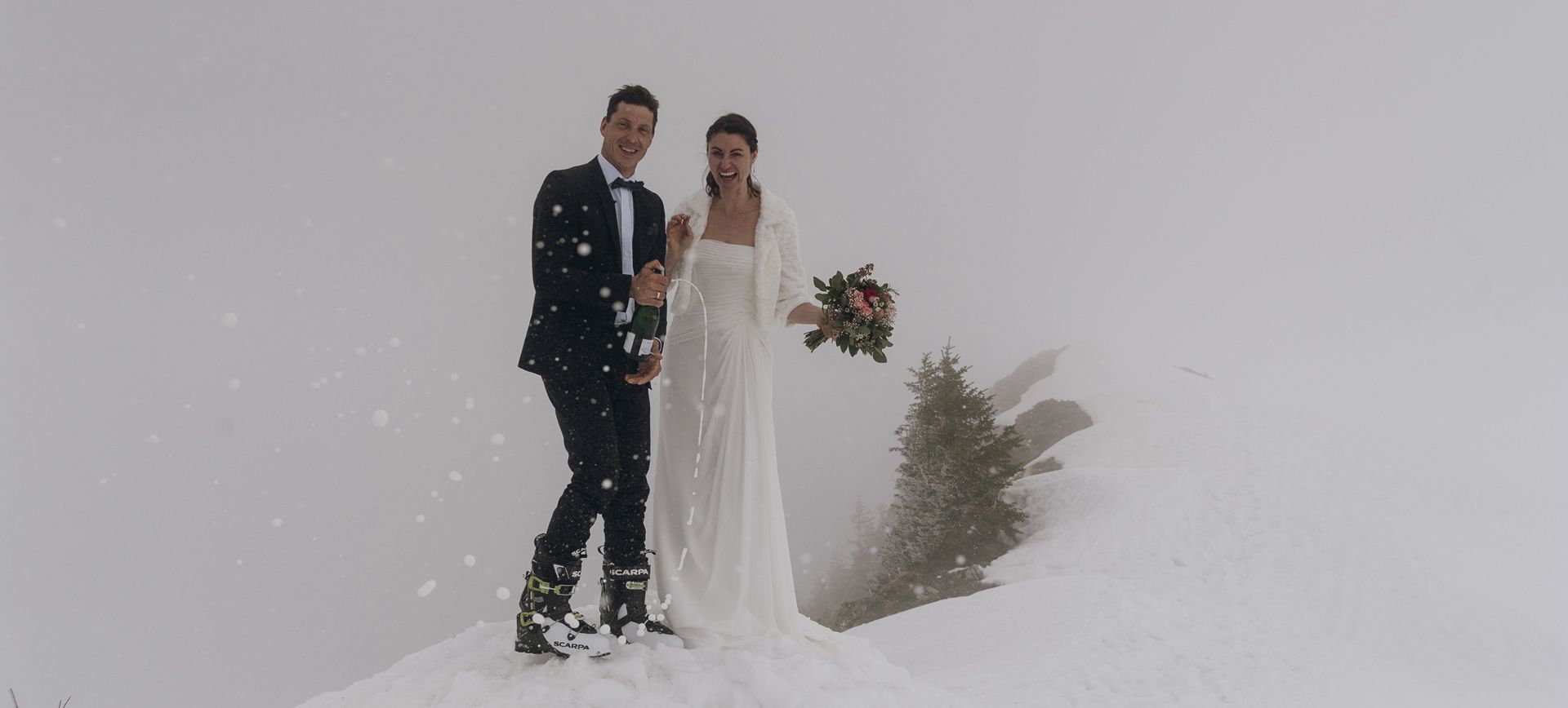 winter mountain elopement with skiing and welness in austria
