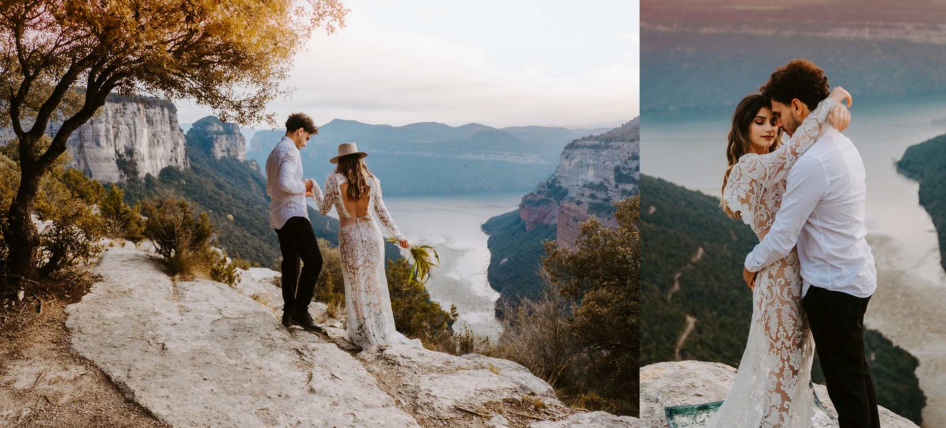 Barcelona Elopement Wedding package for Morro D'Labella . Boho Couples at cliffs