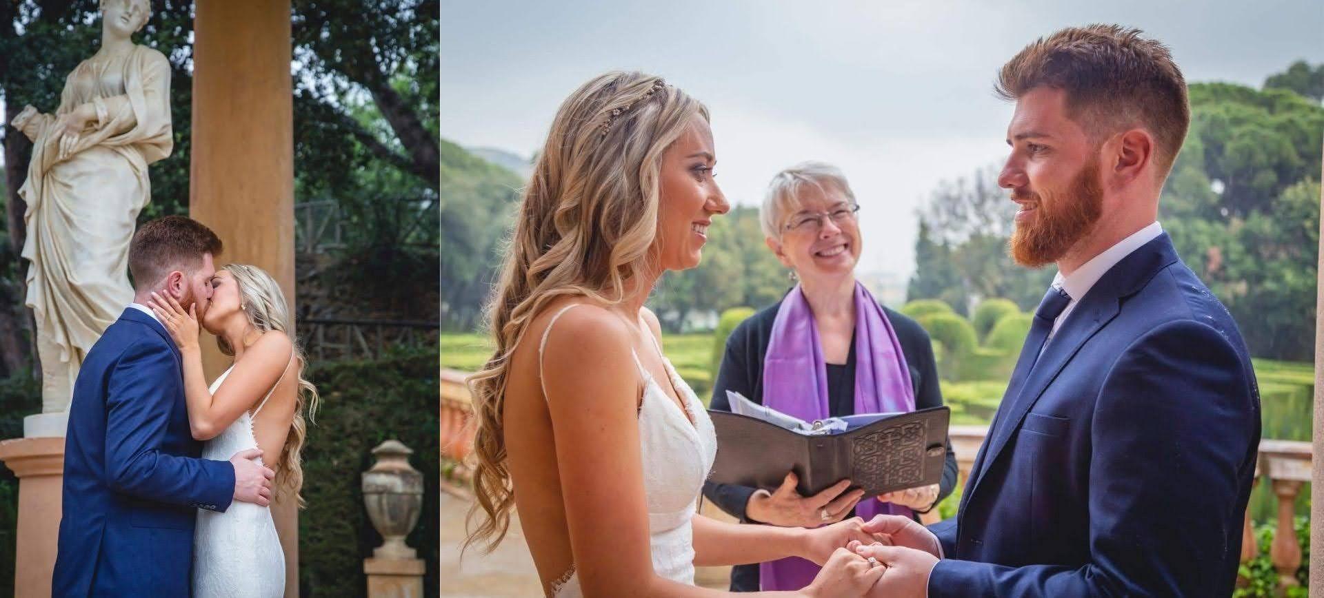 Barcelona wedding ceremony in labyrinth park